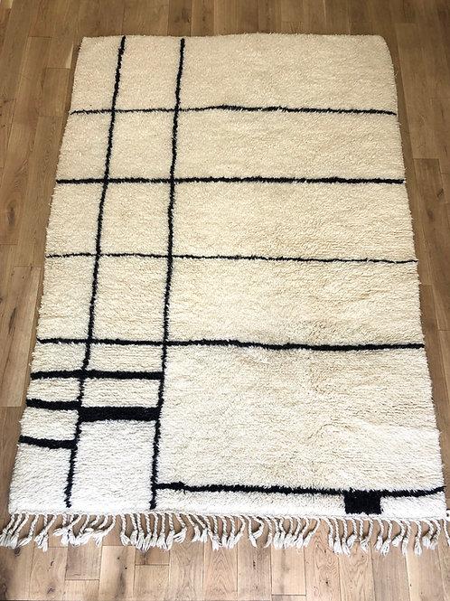 Tapis berbère noir et blanc 230x160 cm
