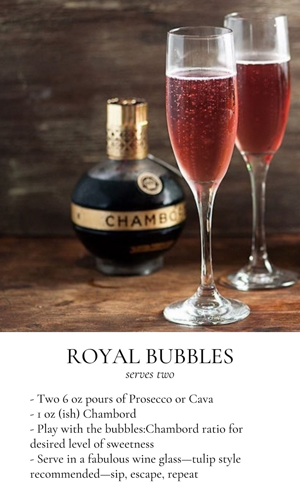"Picture of Chambord Cocktail and ""Royal Bubbles"" recipe"