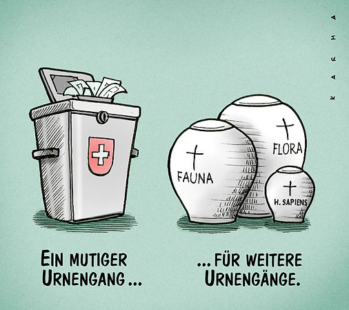 Cartoon, Umweltpolitik, Artensterben, CO2-Gesetz