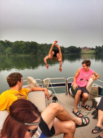 Baxstar Outdoors Diving off pontoon.JPG