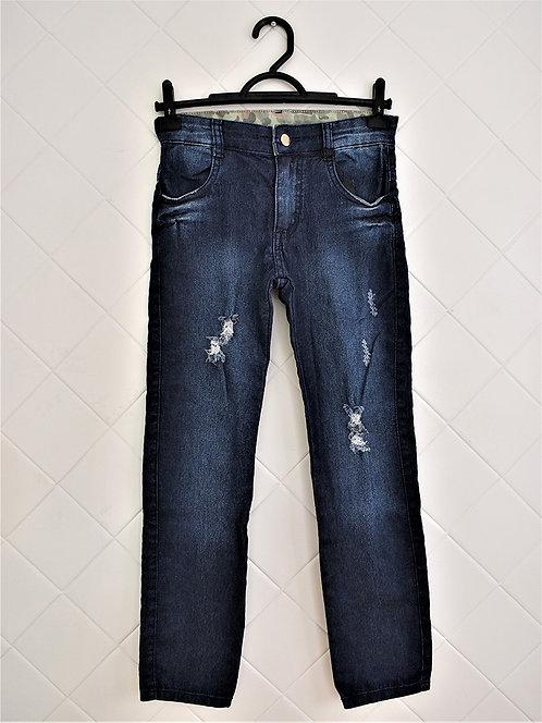 Calça Infantil Jeans Destroyed com Bolso - Tam 8 Anos