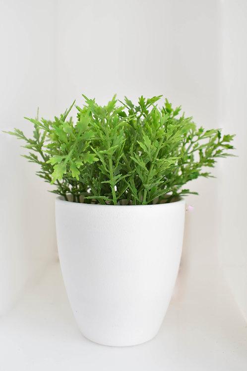 Vasinho Branco com Arbusto Artificial