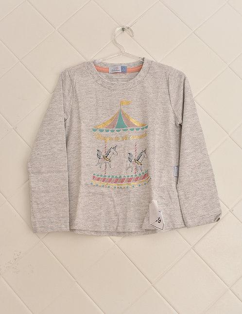 Camiseta Infantil Cinza Manga Longa Estampa de Carrossel Unicórnio- Tam 3 Anos