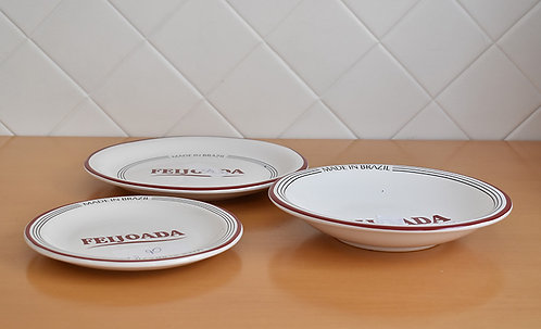 Kit 3 Pratos Branco de Feijoada