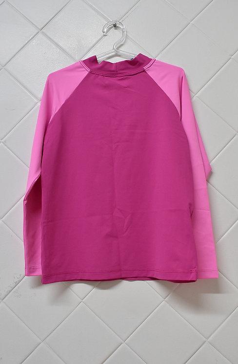 Camiseta Infantil Praia Rosa com Mangas em Rosa Claro