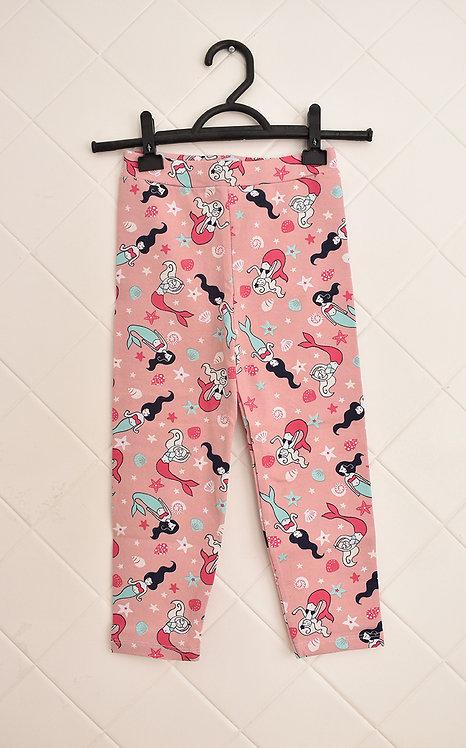 Calça Infantil Rosa com Estampa de Sereias - Tam 3 Anos