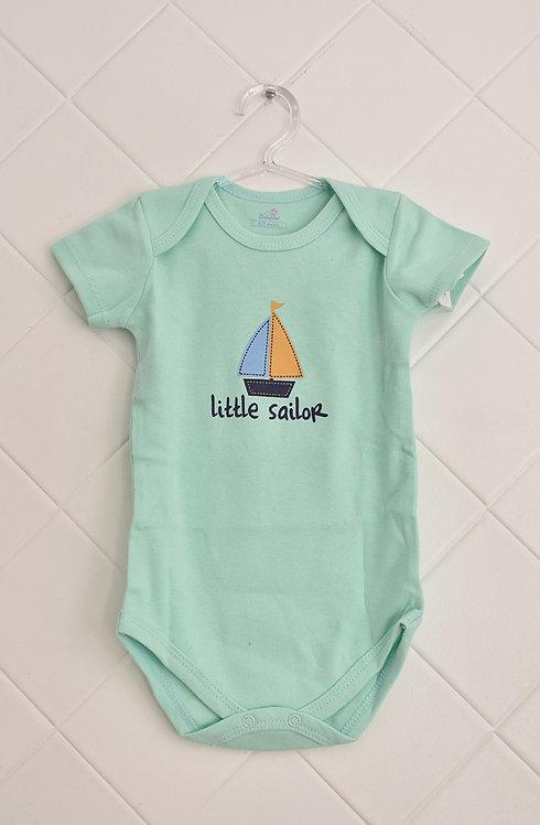 Body Bebê Verde Claro com Estampa de Barco - Little Sailor