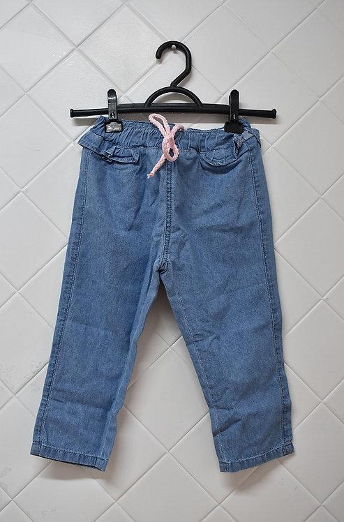 Calça Infantil Jeans com Babado e Cordão Rosa- Tam 3 Anos