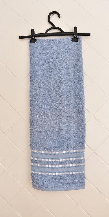 Toalha de Banho Azul com Detalhes em Branco