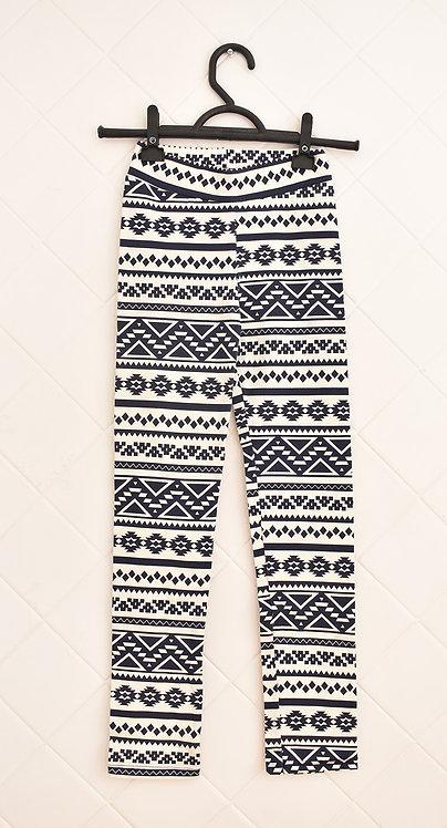 Calça Infantil Estampada em Azul e Branco- Tam 8 Anos