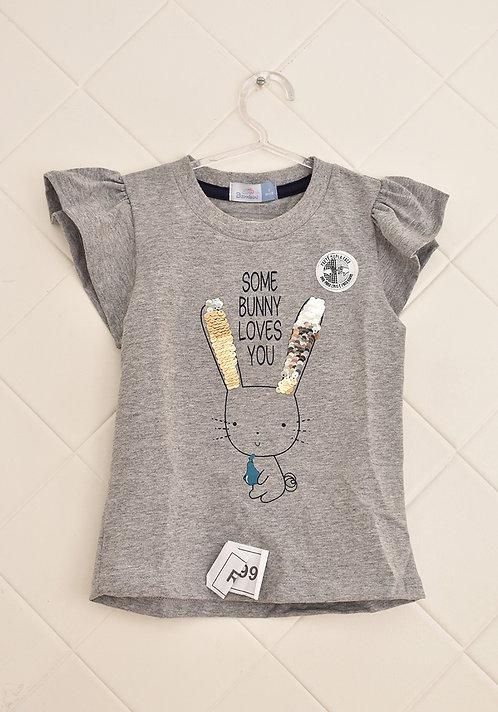 Camiseta Infantil Cinza - Some Bunny Loves You - Tam 3 Anos