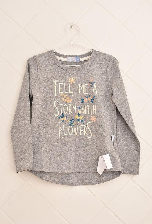 Camiseta Infantil Cinza Manga Longa - Tam 3 Anos