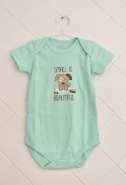 Body Bebê Verde Claro com Estampa de Cachorro - Small is Beautiful