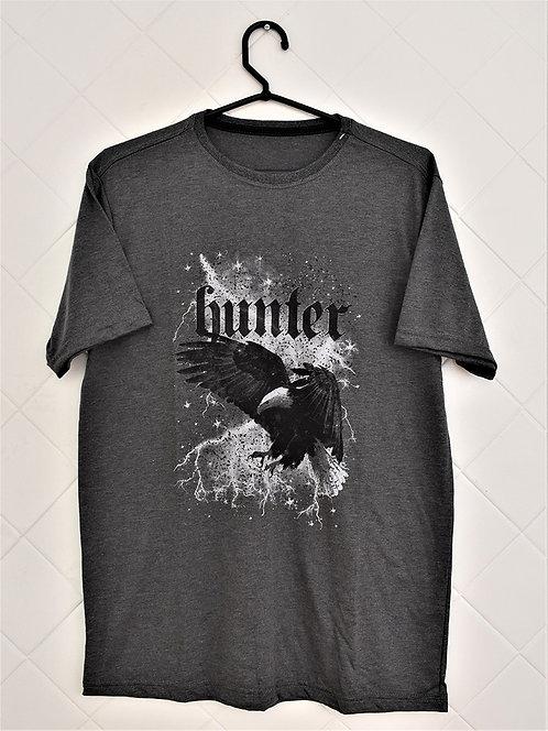 Camiseta Masculina Cinza com Estampa de Águia - Hunter
