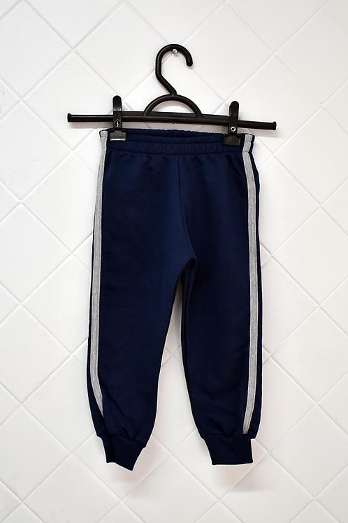 Calça Infantil de Moletom Azul Marinho com Listra Cinza na Lateral