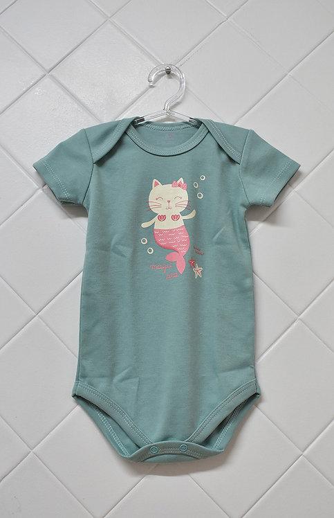 Body Bebê Verde com Estampa de Gata Sereia