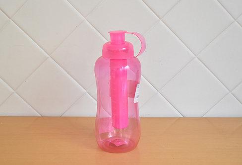 Garrafa Squeeze  com Porta Gelo Rosa Transparente
