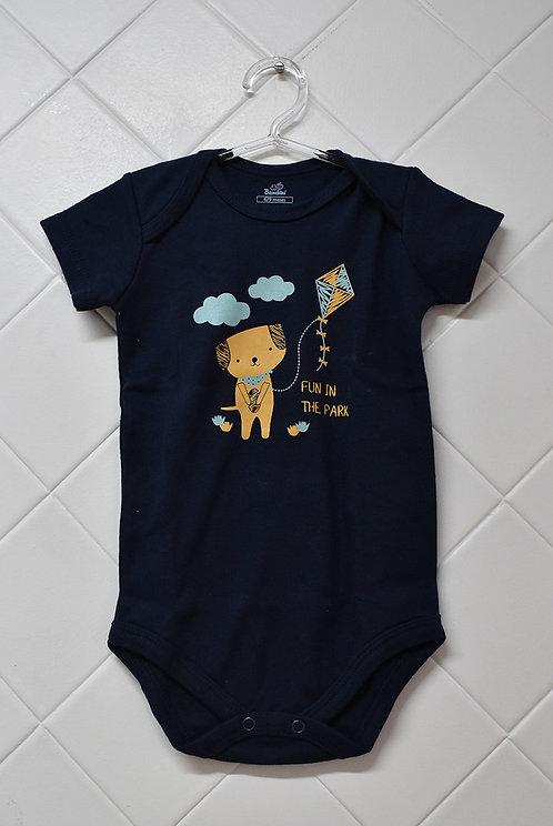 Body Bebê Azul Marinho com Estampa de Cachorro
