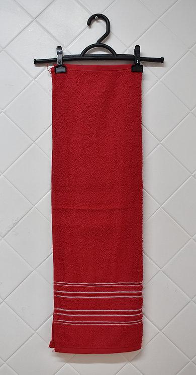 Toalha de Rosto Vermelha com Detalhe  Branco
