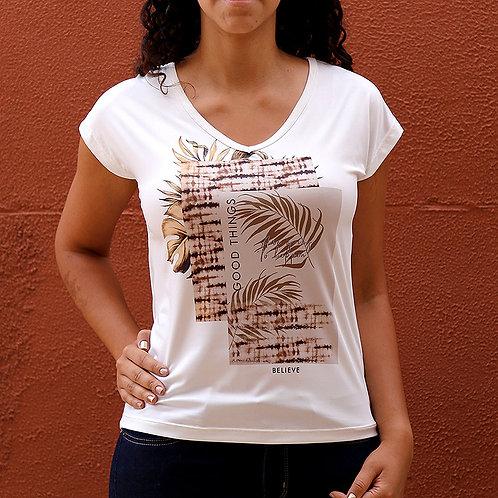 Camiseta Feminina Creme Estampada