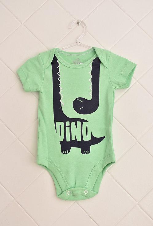 Body Bebê Verde Claro com Estampa de Dinossauro