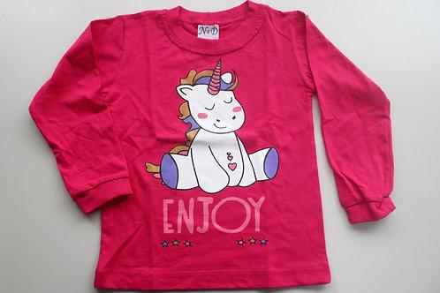 Camiseta Pink Unicórnio  Manga Longa Tam 1 Ano