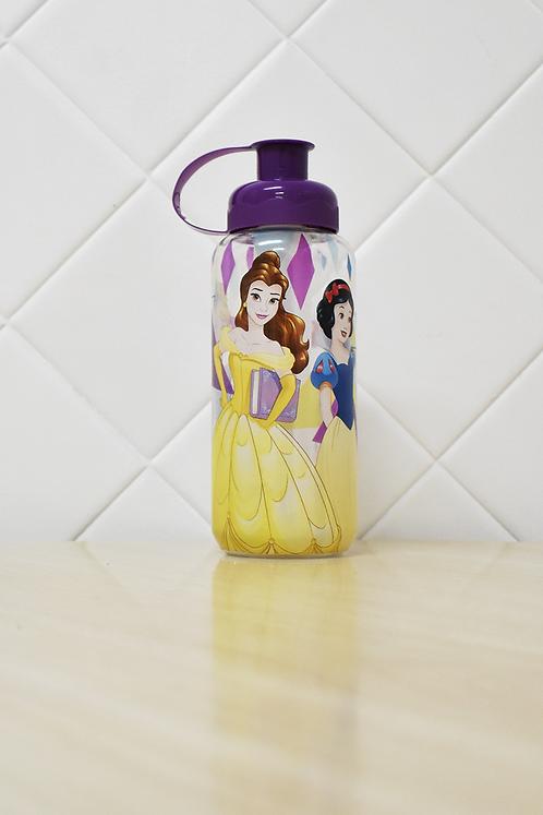 Garrafa Squeeze Plástico com Porta Gelo Princesa Disney Tampa Roxa