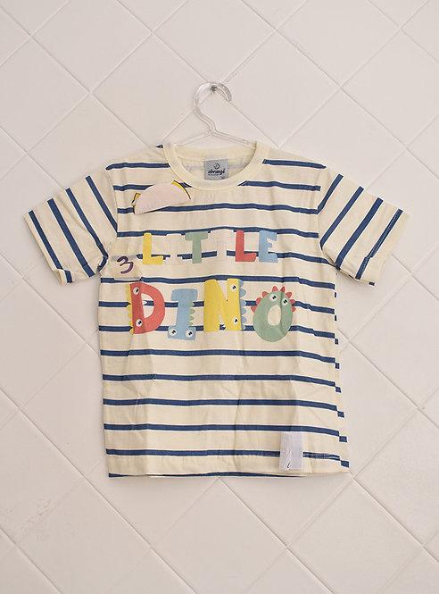 Camiseta Infantil Branca Listrada de Azul - Little Dino - Tam 2 Anos