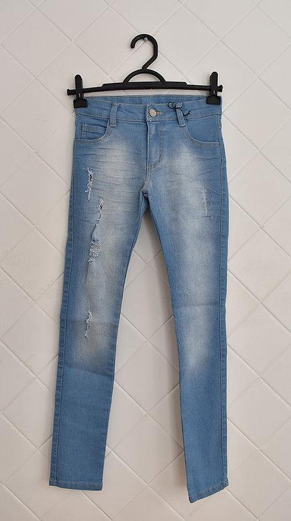 Calça Infantil Jeans Destroyed com Bolsos -  Tam 8 Anos