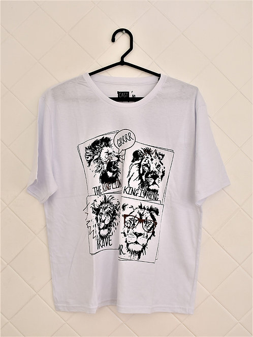 Camiseta Masculina Branco com Leões