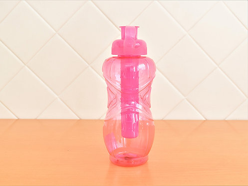 Garrafa Squeeze Plástico com Porta Gelo Rosa