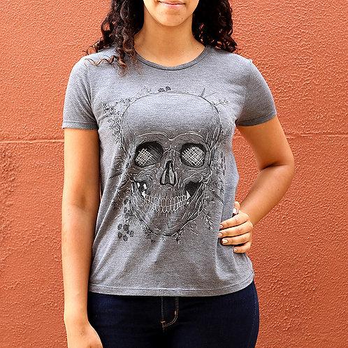 Camiseta Feminina Caveira Cinza com detalhes em Brilho