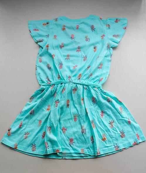 Vestido com Estampa de Abacaxi Detalhe na Cintura Tam 6/7 Anos