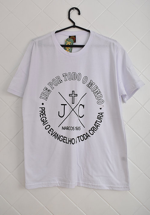 Camiseta Masculina Branca Ide Por Todo O Mundo