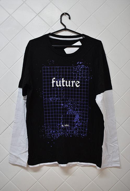 Camiseta Masculina Preta com Mangas Longas Brancas  - Future