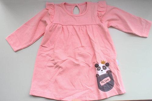 Vestido Infantil Rosa com Estampa de Panda