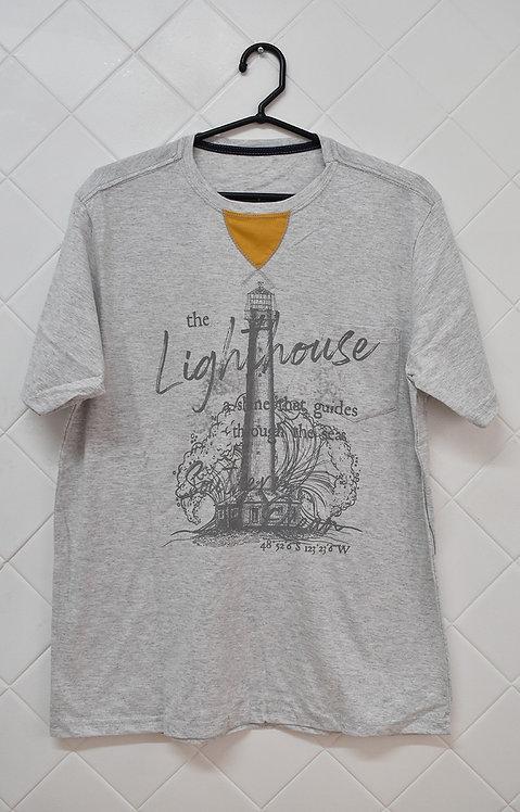Camiseta Masculina Cinza com Estampa Lighthouse