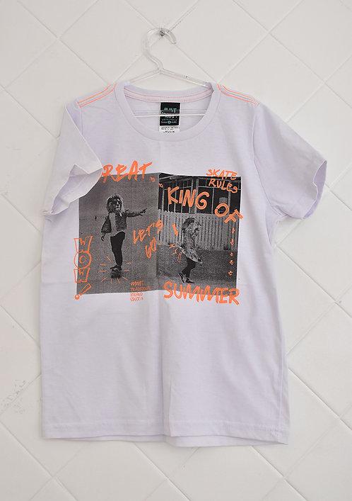 Camiseta Infantil Branca com Estampa em Cinza e Laranja - Tam 6 Anos
