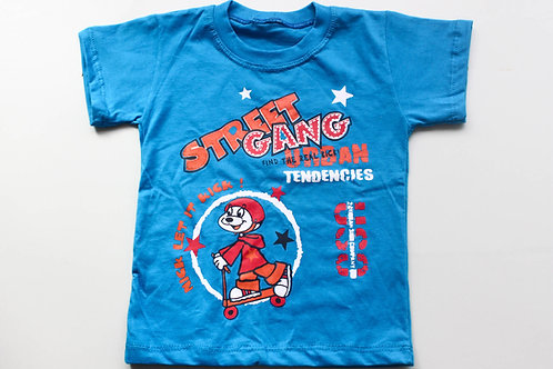 Camiseta Azul  Street Gang Tam 1 Ano