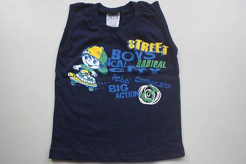 Camiseta Regata Azul Marinho Street Boys Tam 3 Anos
