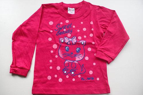 Camiseta Pink Gatinha  Manga Longa Tam 1 Ano
