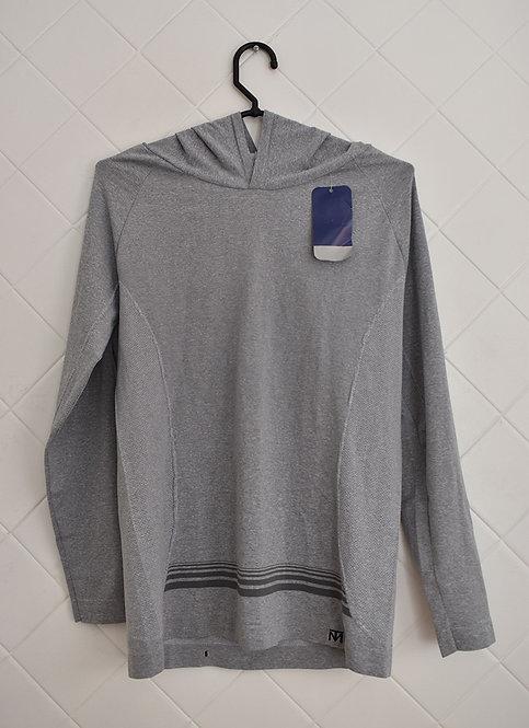 Camiseta Esportiva Manga Longa Masculina Antibacterial Cinza com Capuz