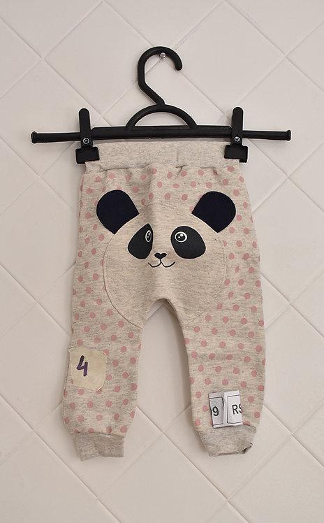 Calça Infantil Cinza com Bolinhas Rosa e Estampa de Panda - Tam 6/9 meses