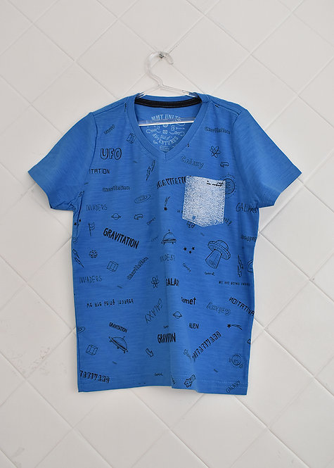 Camiseta Infantil Azul Estampada