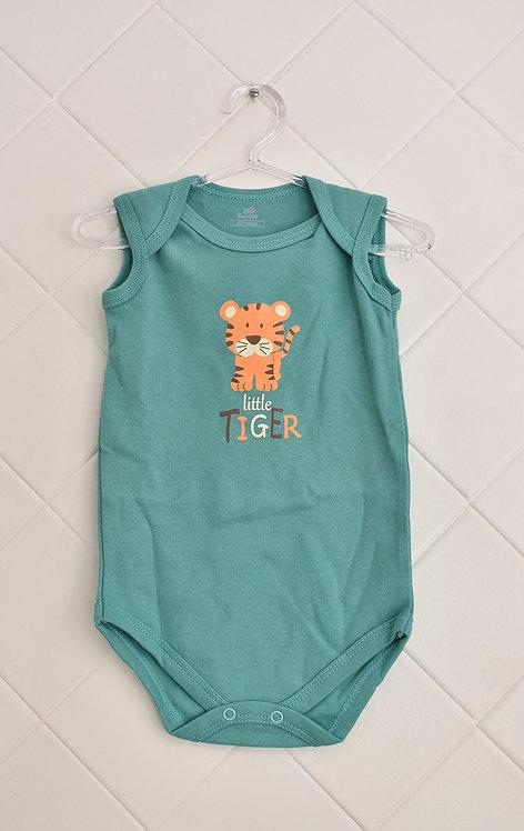 Body Bebê Regata Verde com Estampa de Tigre - Little Tiger