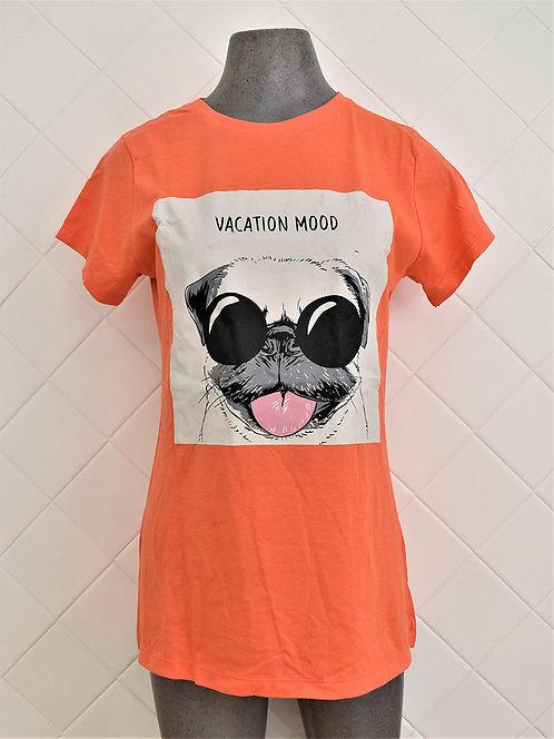 Camiseta Feminina Laranja Estampa de Cachorro com Óculos