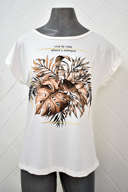 Camiseta Feminina Creme com Estampa de Folhas