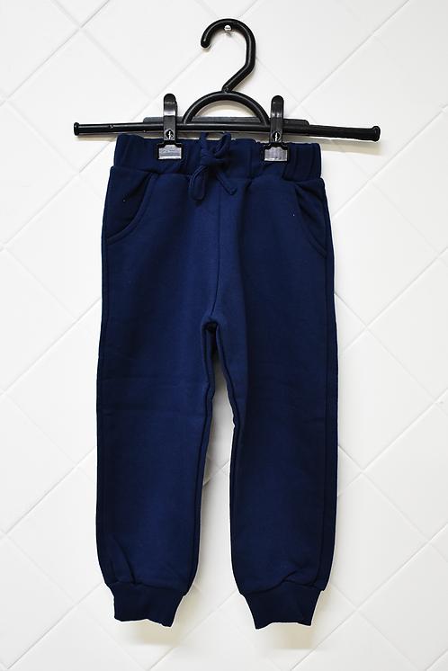 Calça Infantil de Moletom Azul Marinho com Bolsos e Cordão