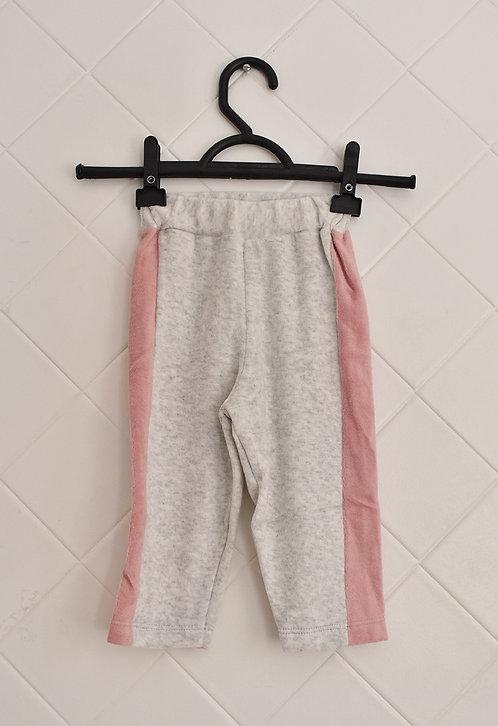 Calça Infantil de Moletom Cinza Claro com Listra Lateral Rosa - Tam 6/9 meses