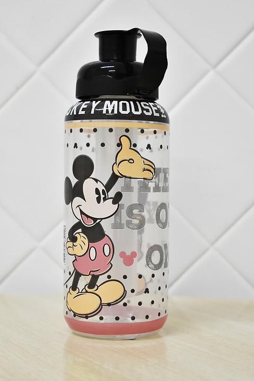 Garrafa Squeeze Plástico com Porta Gelo Mickey Mouse Tampa Preta